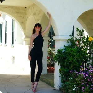Guess by Marciano Pants - GUESS Black One Shoulder Jumpsuit XS